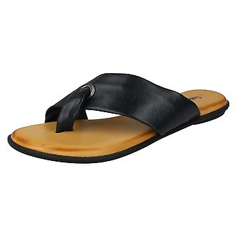 Ladies Leather Collection Toepost Sandals F00147 - Nude Leather - UK Size 8 - EU Size 41 - US Size 10