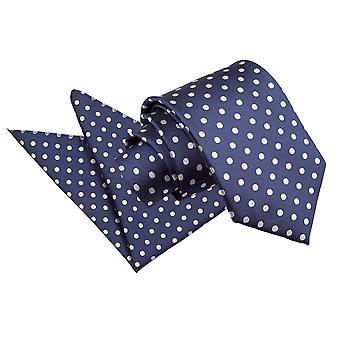 Marineblauwe Polka Dot Tie & zak plein Set