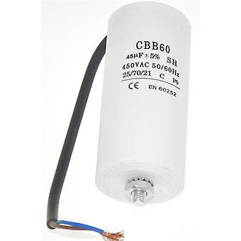 Capacitor 45UF universal com conectores de cabo de 21cm