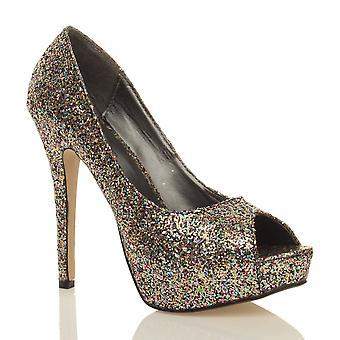 Ajvani mujeres brillo brillante noche fiesta peep toe corte zapatos plataforma bombas de tacón alto