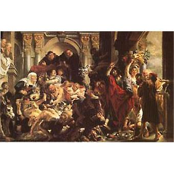 The Purification of the Temple, Jacob JORDAENS, 40x60cm with tray