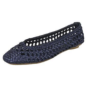 Ladies Spot On Flat Weaved Ballerina Shoe