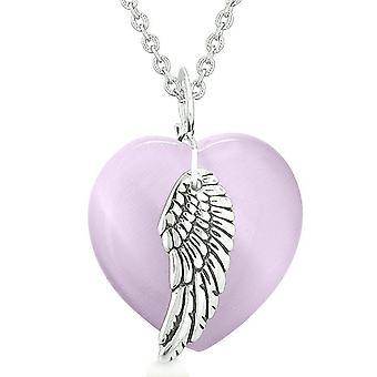 Verge engel fløyen inspirerende Amulet magiske hjertet lilla simulert katter øye anheng halskjede