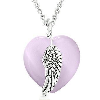 Guardian Angel Wing Inspirational Amulet Magic Heart Purple Simulated Cats Eye Pendant Necklace