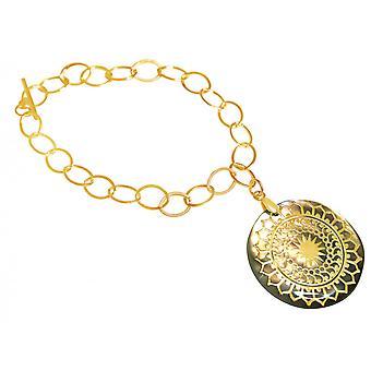 Gemshine - damer - guldpläterad armband - hänge - medaljong - pärlemor - - grå - 3 cm