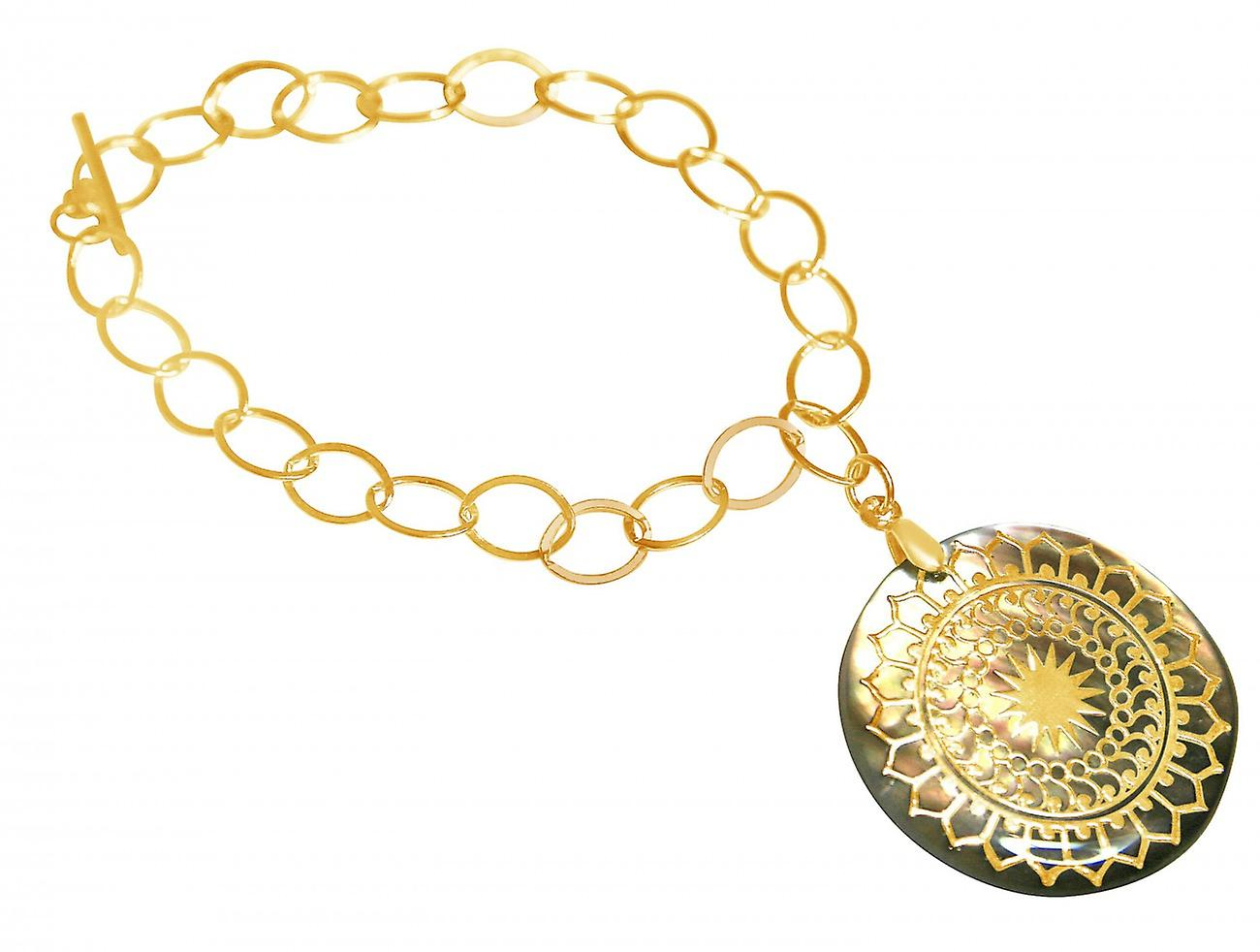 Gemshine - Damen - Armband - Anhänger - Medaillon - Perlmutt - Vergoldet - Grau - 3 cm