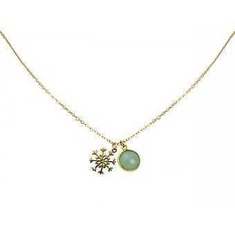 Damen - Halskette - Anhänger - SCHNEEFLOCKE - 925 Silber - Vergoldet - Chalcedon - Grün - Meeresgrün - 1,3 cm