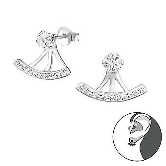 Curved - 925 Sterling Silver Ear Jackets & Double Earrings - W31135x