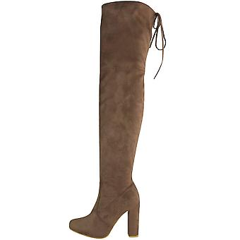 Ladies Thigh High Over The Knee Suede Lace Tie Block Heel Boots Shoes