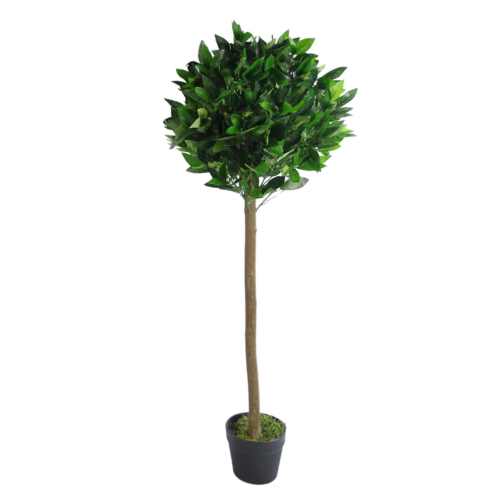 120cm (4ft) Plain Natural Trunk Artificial Topiary Bay Laurel Ball Tree