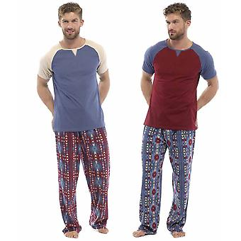 Mens Jersey Top & Fleece Bottoms Pyjamas (Pack of 2)