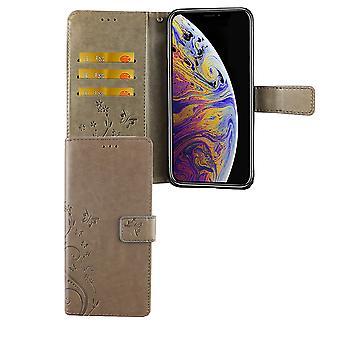 Tampa do Apple iPhone cartão cinza tampa do saco caso móvel de XS Max caso Flip