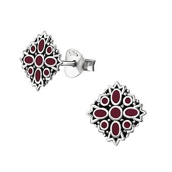 Ethnic - Epoxy Colour + 925 Sterling Silver Plain Ear Studs - W31346x