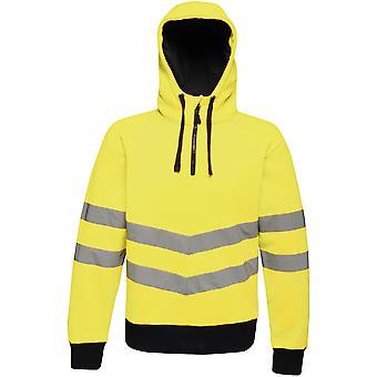 Regatta Mens Hi Vis Pro Half Zip Hooded Workwear Jacket