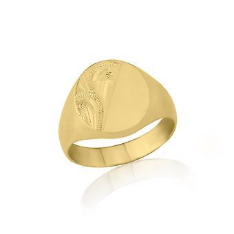 Sterne Eheringe ovale 9ct Gelb Gold Extra Heavy Weight gravierte Siegelring