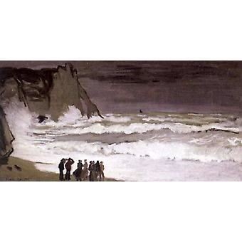 Rough Sea at Etretat,Claude Monet,80x40cm