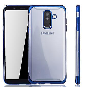 Handyhülle für Samsung Galaxy A6 Plus Blau - Clear - TPU Silikon Case Backcover Schutzhülle in Transparent / glänzender Rand Blau