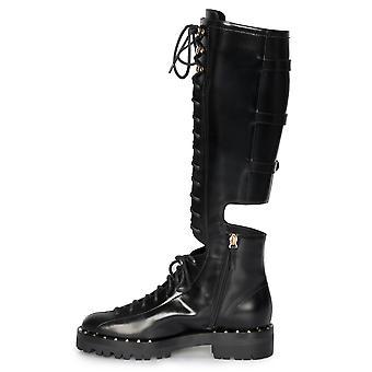 Valentino Rockstud Knee-High Cutout Boots in Black