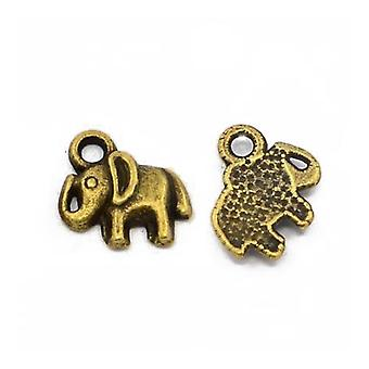 Packet 30 x Steampunk Antique Bronze Tibetan 11mm Elephant Charm/Pendant ZX14010