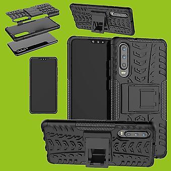 Für Huawei P30 Hybrid Case 2teilig Outdoor Schwarz Tasche Hülle Cover Schutz