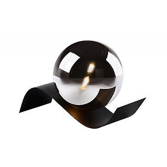مصباح طاولة رمادية يوني لسيد الحديثة المستطيل الأسود المعدني والدخان