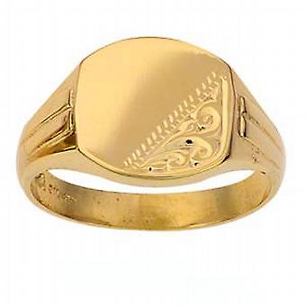 9ct Gold 13x14mm gents engraved TV shaped Signet Ring Size W