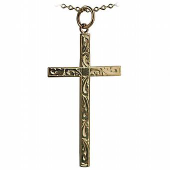 9ct Gold 35x20mm hand engraved solid block Cross with a cable Chain 16 inches Only Suitable for Children