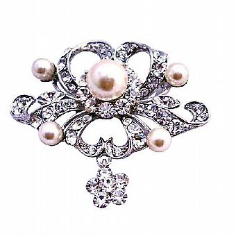 Fully Encrusted Rhinestones Pearls Cubic Zircon Flower Silver Brooch