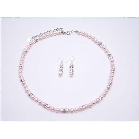 Swarovski Rose Pearls Jewelry Set Gift Prom Pink Pearls Complete Set
