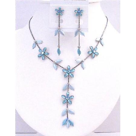 Blue Floral Blue Jewelry Beautiful Y Shaped Prom Wedding Necklace Set