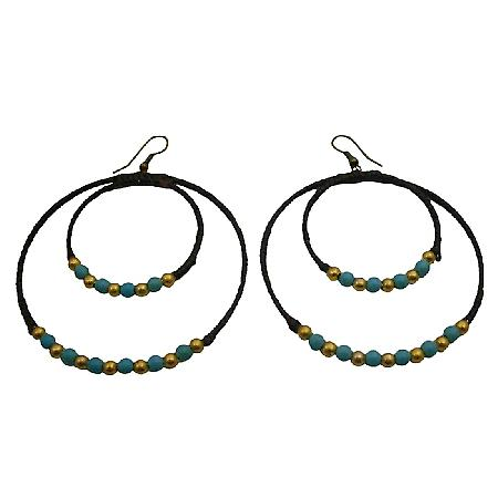 Double Circle Hoop Earrings Knitted Wax Cord Turquoise Golden Beads