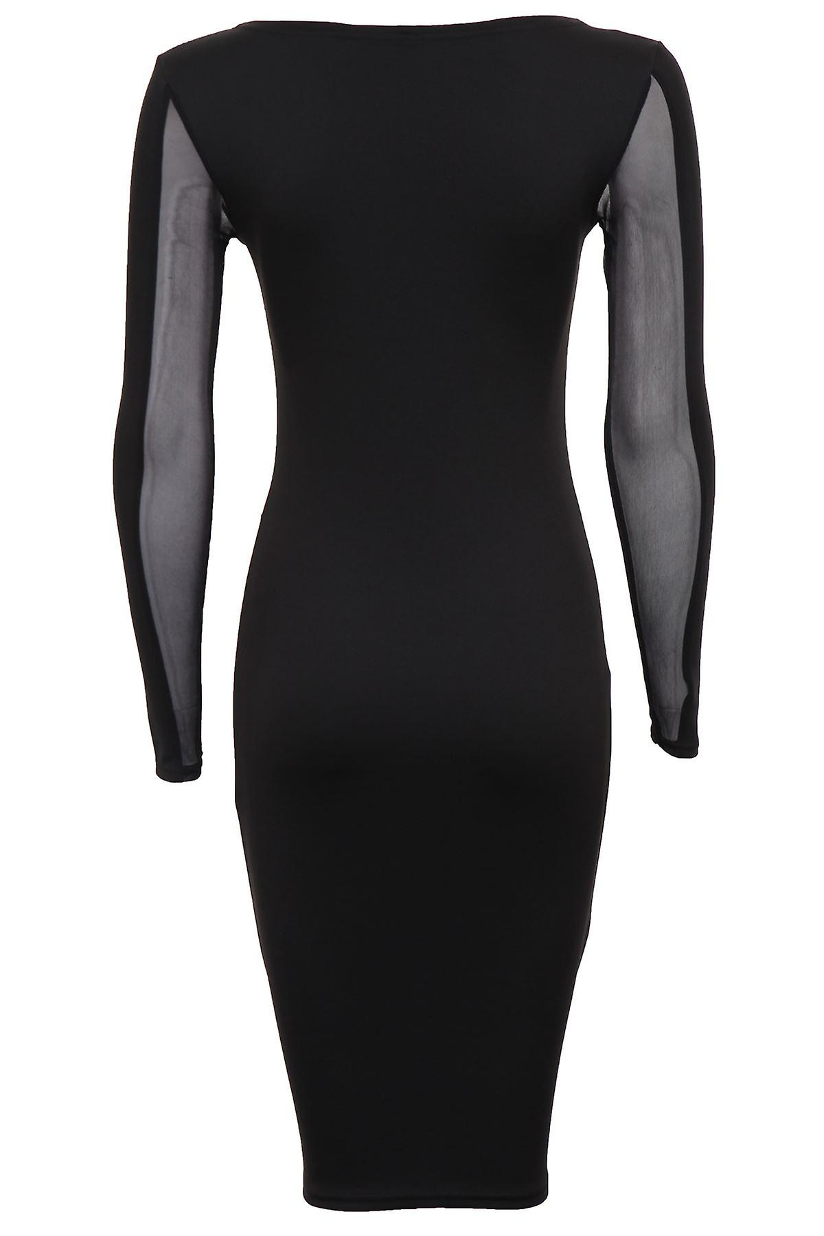 New Ladies Diamond Pattern Mesh Insert Slim Effect Women's Bodycon Dress