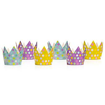 6 Spotty Mixed Colour Card Crowns for Kids Parties | Kids Birthday Party Hats