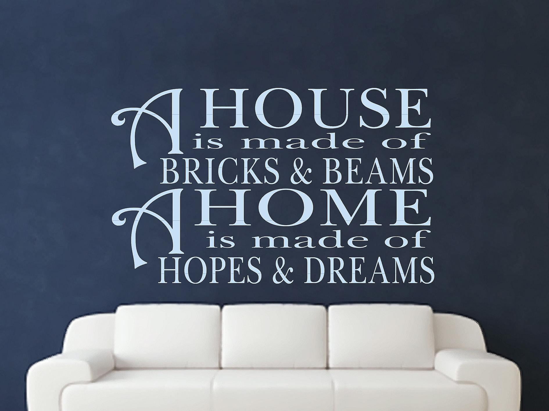 A House Is Made Of Bricks And Beams v2 Wall Art Sticker - Pastel Blue