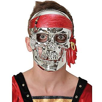 Pirat skallen maske sølv metallic skallen pirat maske