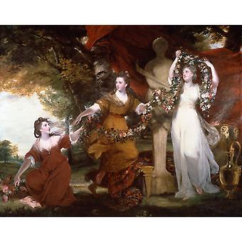 Three Ladies adorning a term of Hymen,Joshua Reynolds,50x40cm