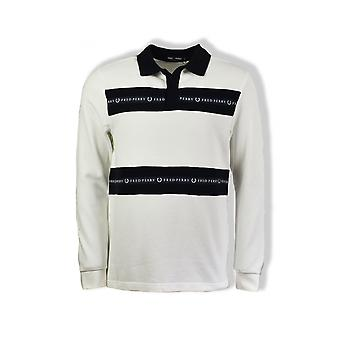 Fred Perry Sports Tape Long-Sleeved Pique Top (Snow White)