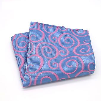 Baby blue & bright pink swirl modern men pocket square