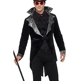 Chaqueta de vampiro gótico traje carnaval Nosferatu Halloween Conde Dracula de los hombres