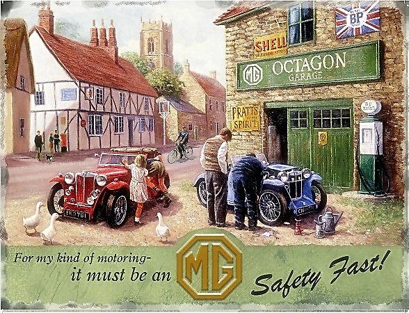 MG Service Garage steel sign (medium)  300mm x 200mm   (og)