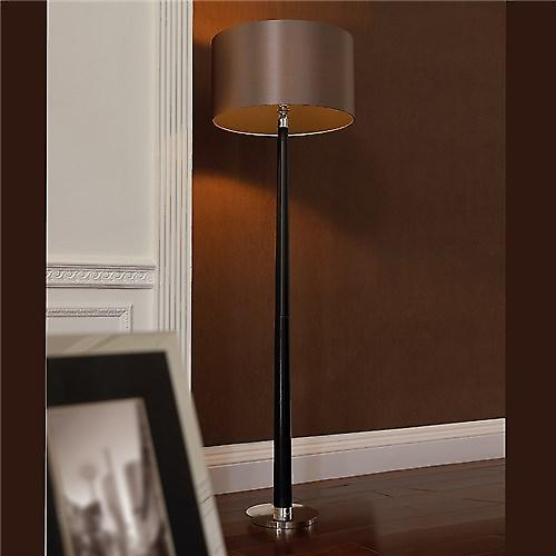 Endon CHASSELAS Chasselas Contemporary Dark Oak Floor Lamp With Faux Silk Shade