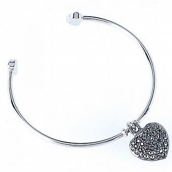 Park Lane Ladies Silvertone Bangle with Gun Metal Glass Set Heart Charm