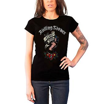 The Rolling Stones T Shirt Miss You Band Logo Official Womens Black Skinny Fit