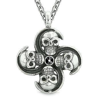Supernatural Skull Powers Magic All Forces of Nature Amulet Jet Black Crystal Pendant 22 inch Necklace