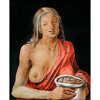 Old woman with Bag of coins,Albrecht Durer,29x35cm