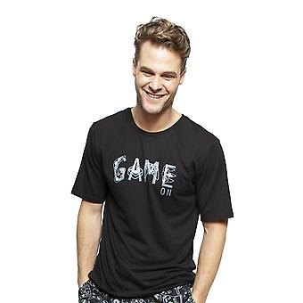 Cyberjammies 6394 Uomo Isaac Black Cotton Short Sleeve Pyjama Top