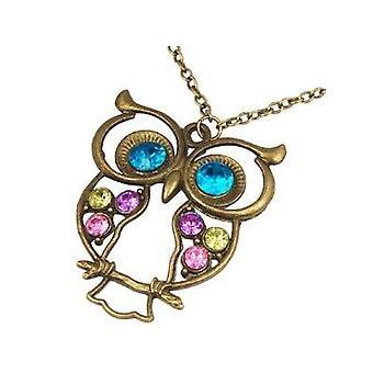Vintage Colourful Owl Necklace