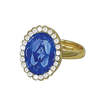 Eternal Collection Countess Oval Sapphire Blue Crystal Gold Tone Costume Ring