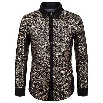 Allthemen Men-apos;s Shirt Gilding Print Lapel Casual Long Sleeve Shirt Allthemen Men-apos;s Shirt à manches longues à manches longues