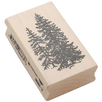 Inkadinkado Wood Mounted Rubber Stamp L Pine Trees Stampl 96683